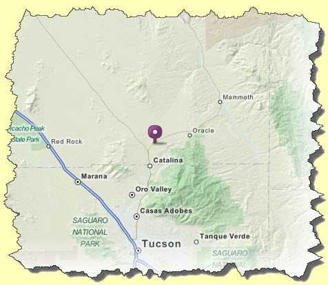 Map of Oracle, Arizona - Bead Store Location